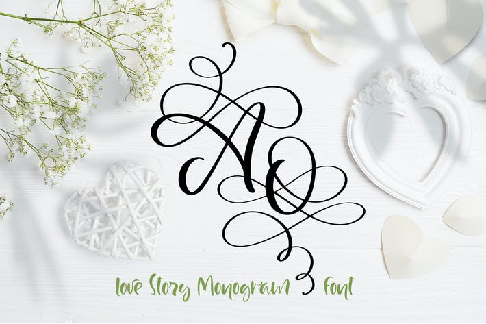 Thumbnail for Love Story Monogram Font