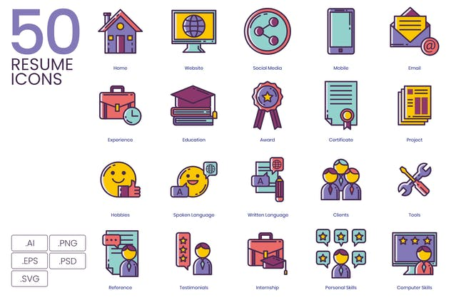 50 Resume Icons - Lilac Series