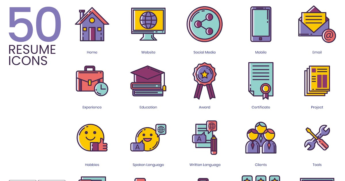 Download 50 Resume Icons - Lilac Series by Krafted