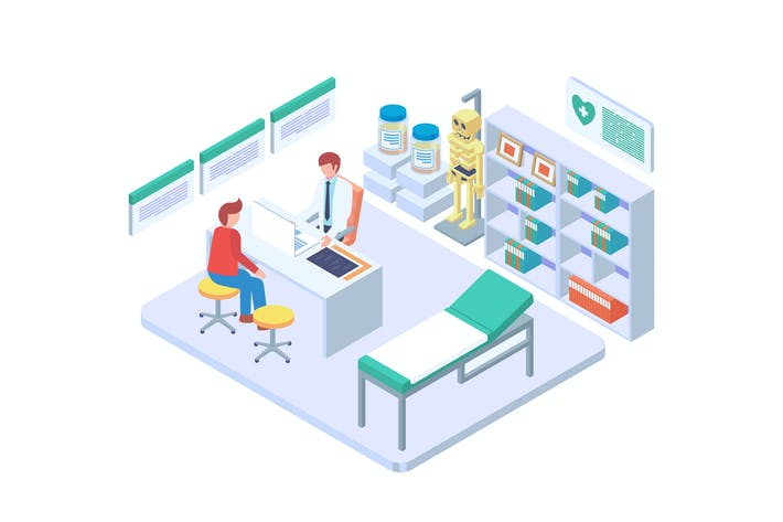 Thumbnail for Doctor Consultation Isometric Vector