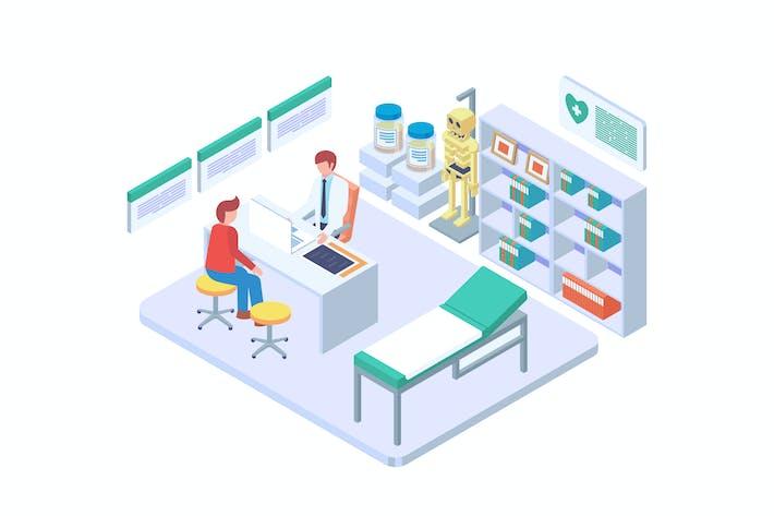 Thumbnail for Vector isométrico de consulta con el médico