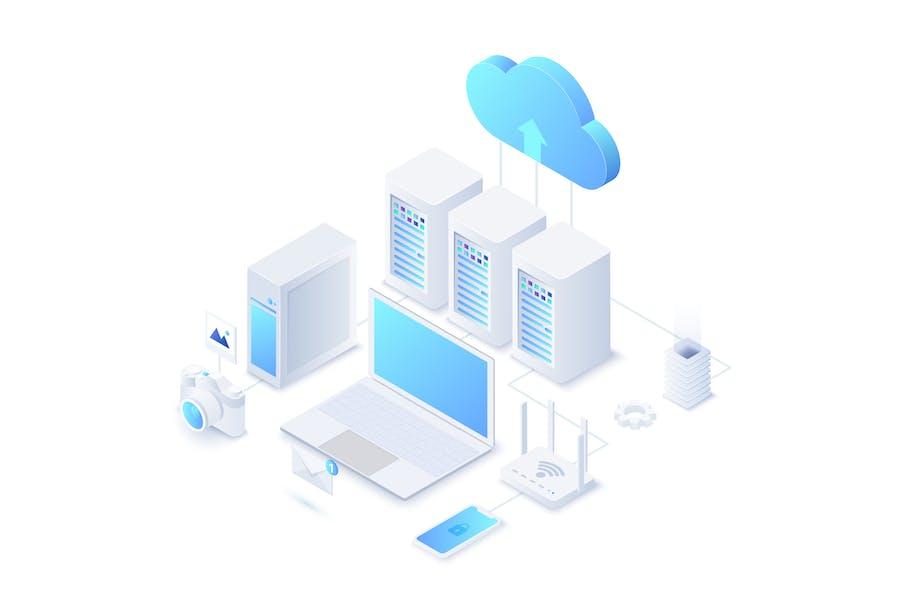 Isometric Cloud Technology Illustration