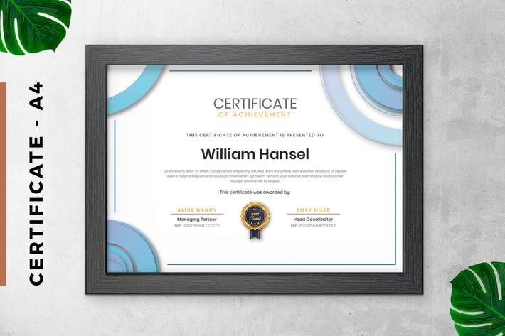 Thumbnail for White and Blue Certificate / Diploma Template