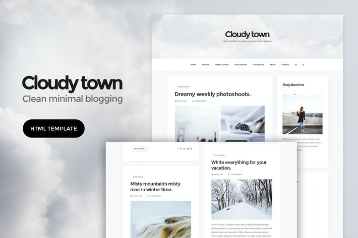 Thumbnail for Cloudy Town - Clean Minimal Blog HTML Template