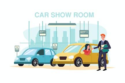 Junge Frau testet ein Auto in einem Auto-Showroom