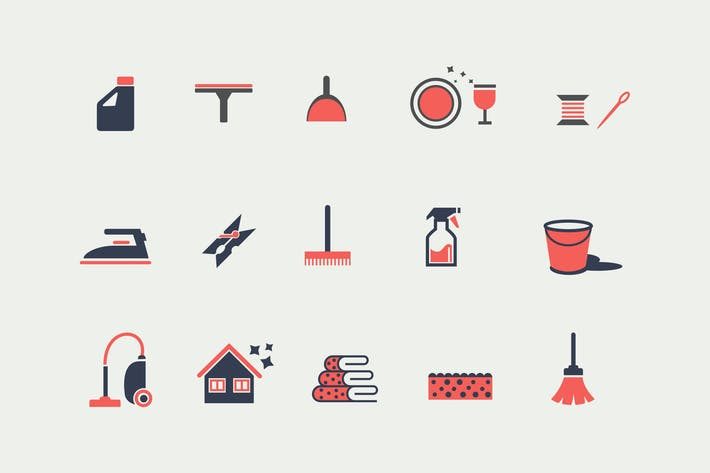 Thumbnail for 15 Housekeeping and Cleaning Icons