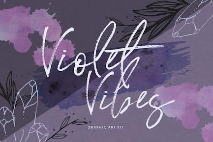 Violet Vibes Graphic Art Kit