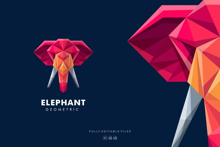 Thumbnail for Elephant Poly Colorful Logo