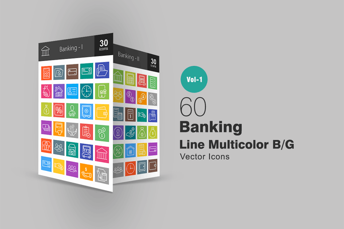 Thumbnail for 60 Banking Line Multicolor Icons