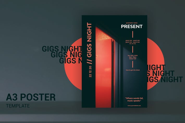 Thumbnail for Gigs Night - A3 Poster Template