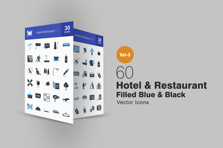 Cover Image For 60 Hotel & Restaurant Blue & Black Icons