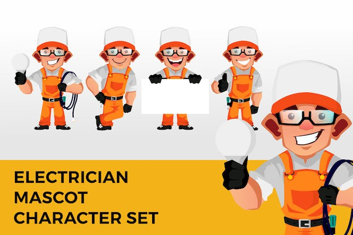 Thumbnail for Electrician Mascot Character Set