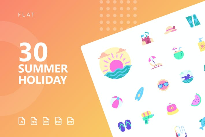 Thumbnail for Summer Holiday Flat Icons