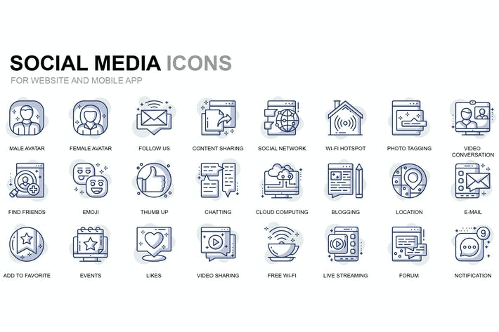 Thumbnail for Social Media and Network Thin Line Icons