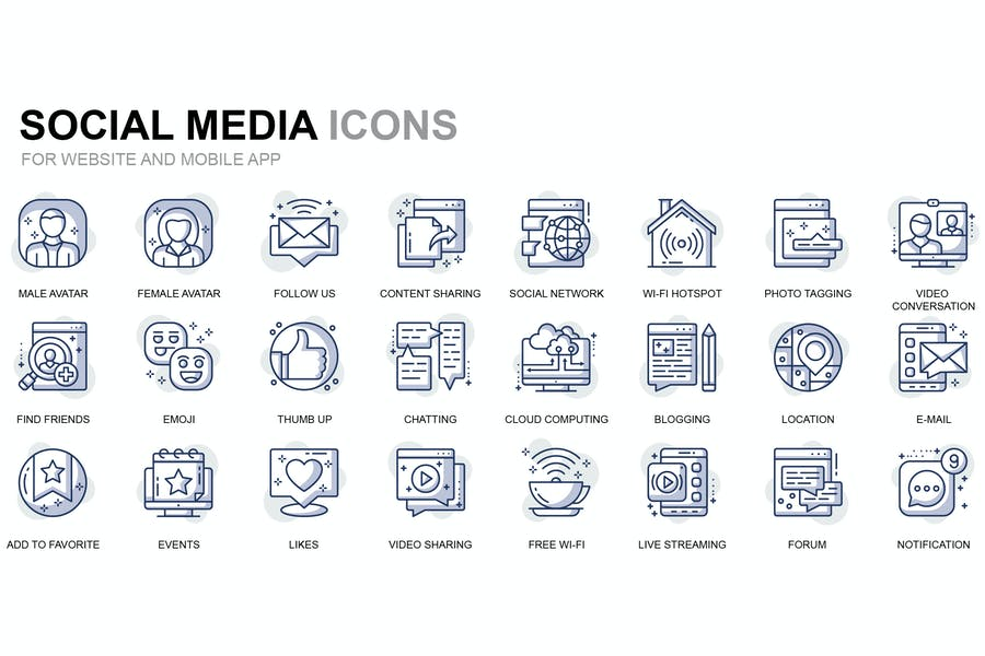 Social Media and Network Thin Line Icons