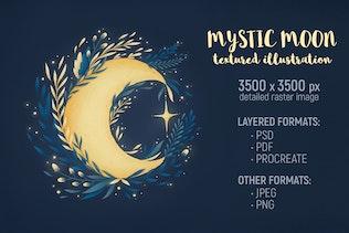 Mystic Moon Illustration by Yuzach on Envato Elements