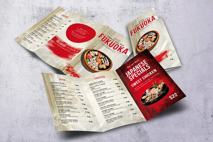 Thumbnail for Japanese Trifold Food Menu V2