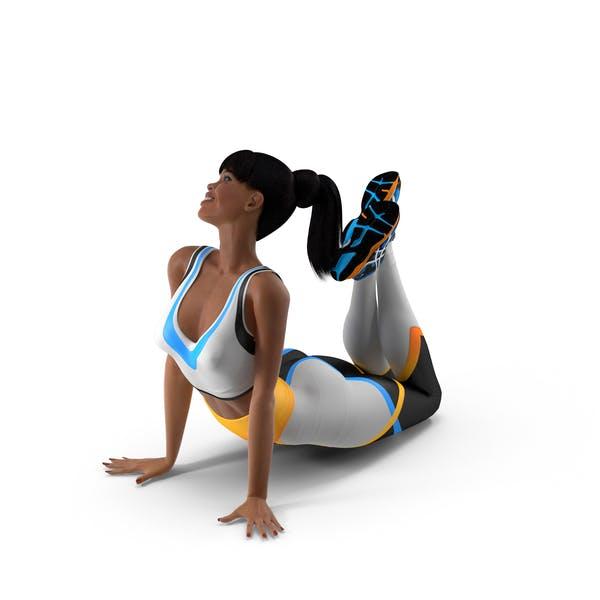 Light Skin Fitness Woman Lying Pose