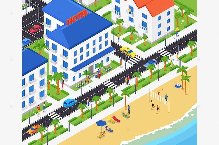 Coastal city - Colorful Isometric Illustration
