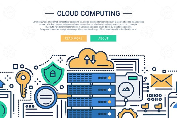 Thumbnail for Cloud Computing - line design illustration