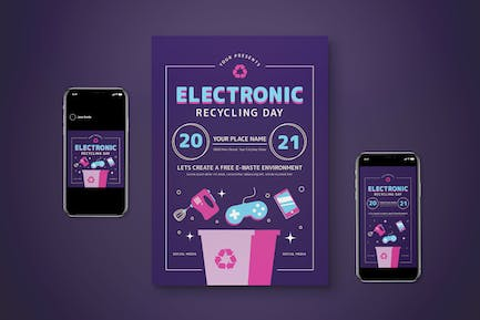 Electronic Recycling Day Flyer Set