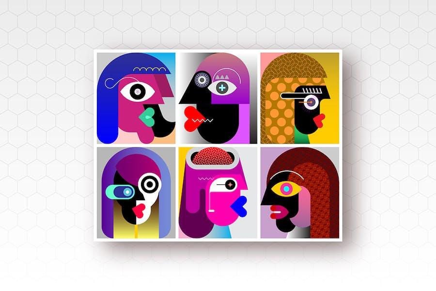 Ввектор иллюстрация шести разных людей