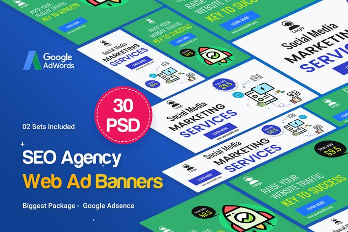 Thumbnail for SEO, Marketing Agency Banners Ad - 02 Sets