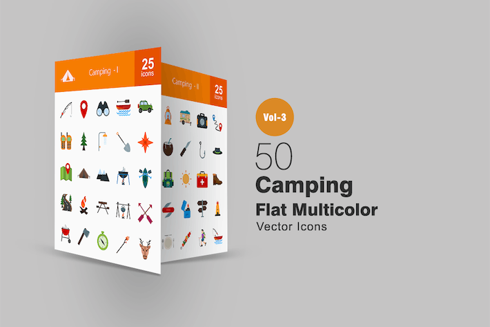 Thumbnail for 50 Camping Flat Multicolor Icons