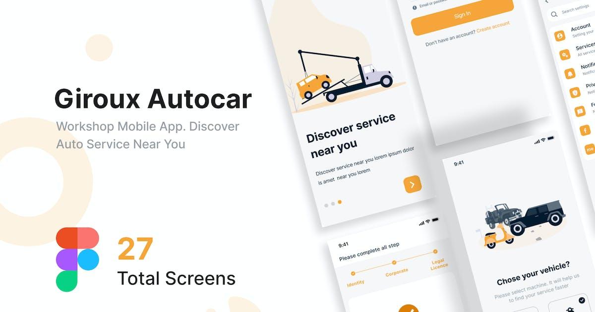 Download Giroux Autocar - Workshop Mobile App UI kit Figma by Pathfinderstd