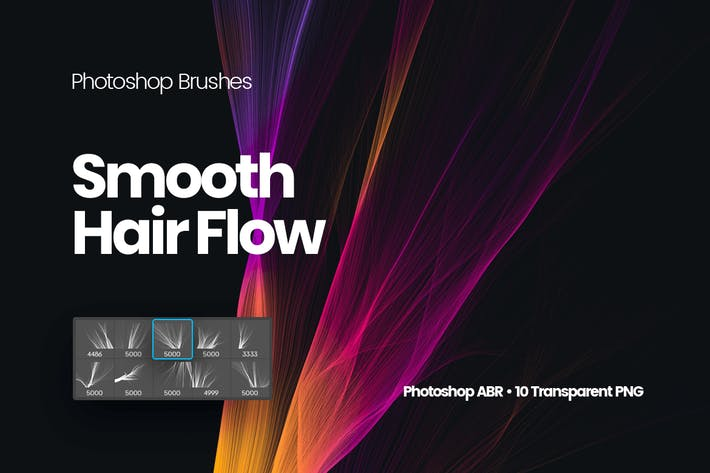 Thumbnail for Smooth Hair Flow Photoshop Brushes