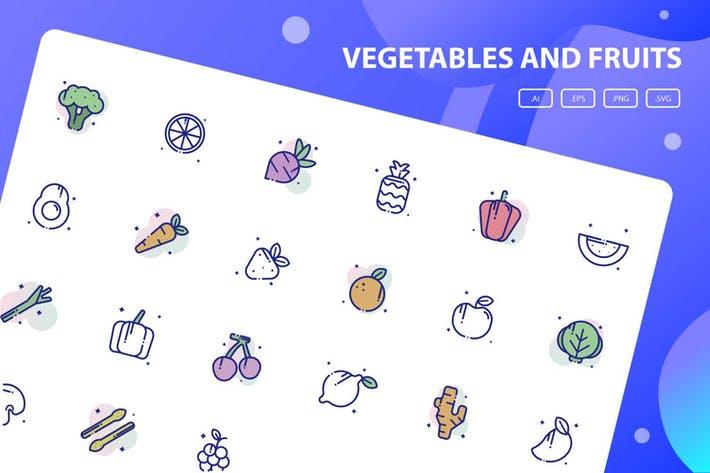 Thumbnail for Gemüse und Obst Icon Pack