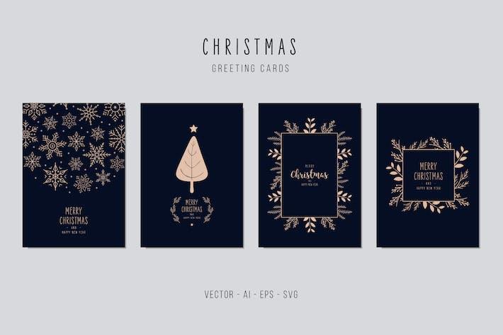 Thumbnail for Juego de tarjetas Vector de felicitación navideña