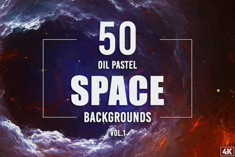 50 Öl-Pastell-Weltraum-Hintergründe - Band 1