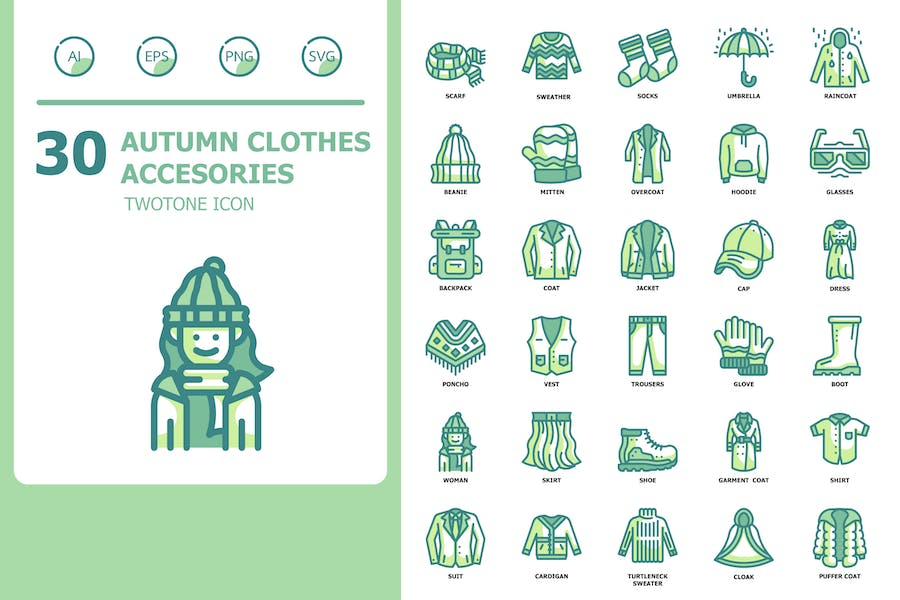 Autumn Clothes Accesories Twotone Icons