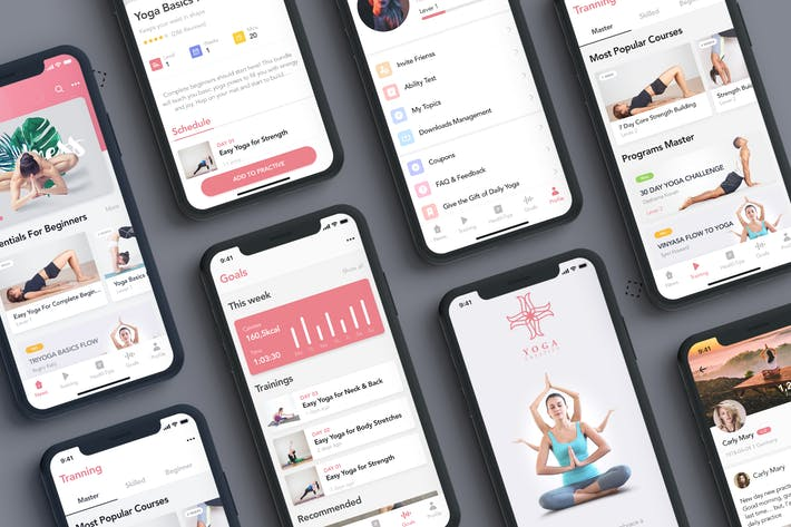 Yoga Fitness App UI Kit for ADOBE XD by hoangpts on Envato