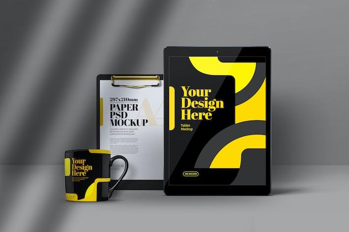 Tablet, Clipboard & Mug Mockup