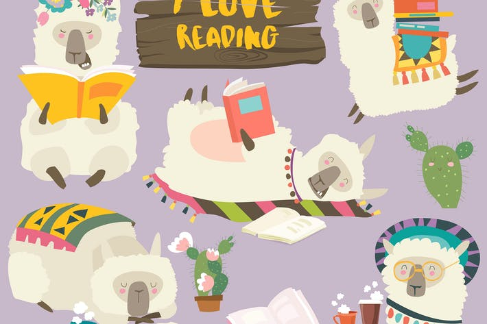 Thumbnail for Funny cartoon llamas alpaca reading books. Vector