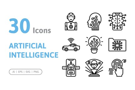 30 Artificial Intelligence Icons