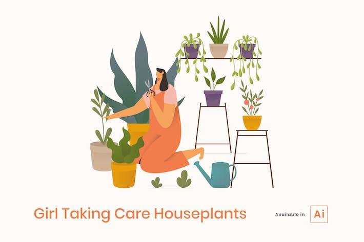 Thumbnail for Девушка, заботящая о домашних растениях иллюстрация