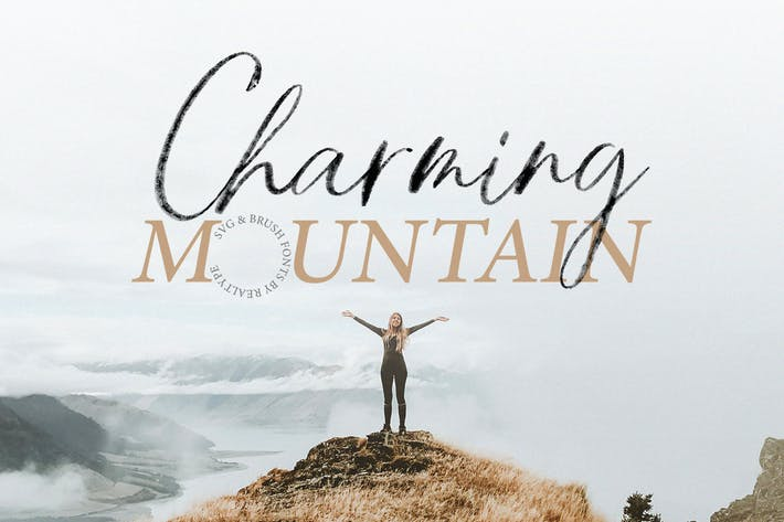 Thumbnail for Charming Mountain Webfont, Brush & SVG Fonts