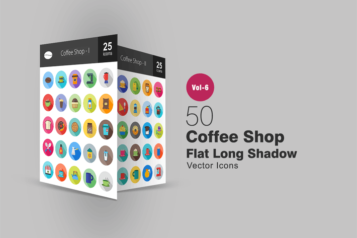 Thumbnail for 50 Coffee Shop Flat Shadowed Icons