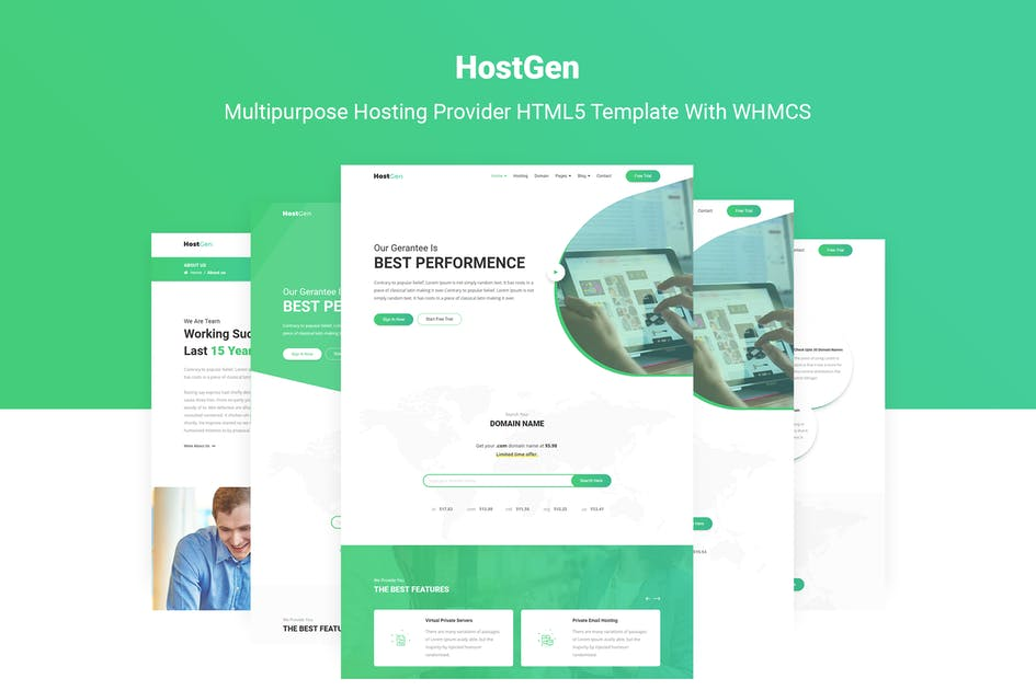 Download HostGen - Hosting Provider Template With WHMCS by themelooks