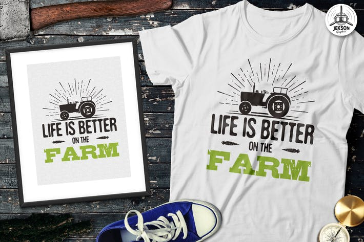 Thumbnail for Organic Farm Logo & Eco Food Retro Badge / Emblem