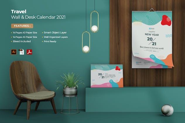 Travel Wall & Desk Calendar 2021