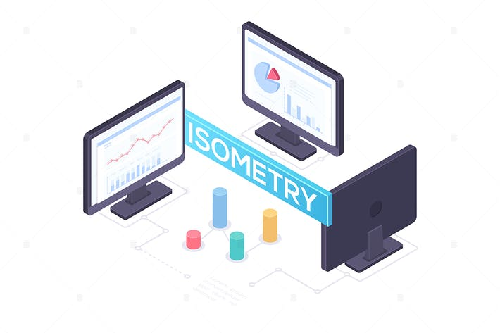 Thumbnail for Business analytics concept - isometric objects