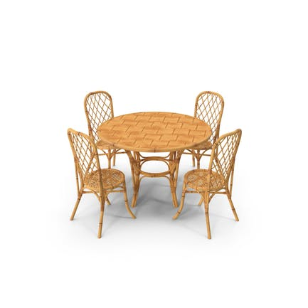 Bamboo Dining Table with Chairs Set
