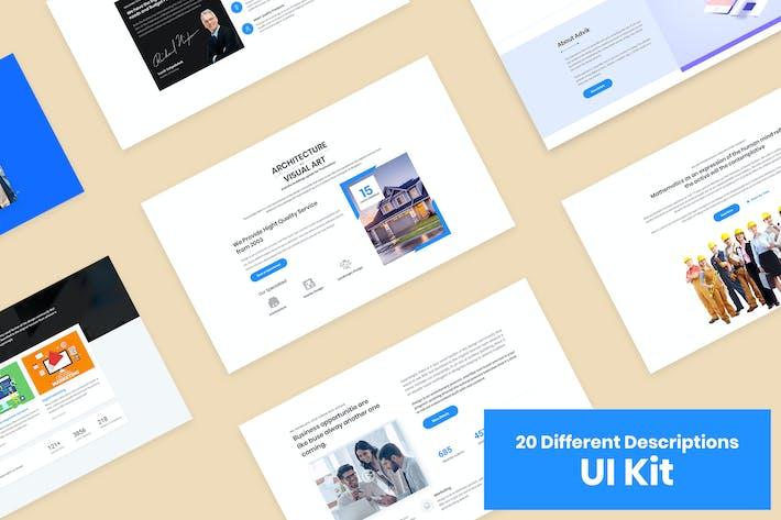 Thumbnail for 20 Descriptions Blocks Design for Web-UI Kit