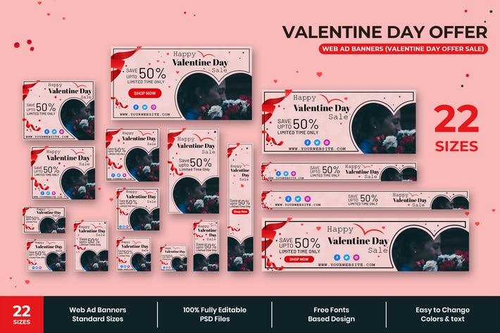 Thumbnail for Valentine Day Offer Web Ad Banners