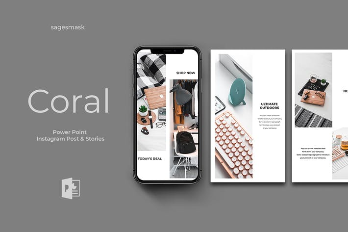 Thumbnail for Coral Powerpoint Instagram Post And Stories