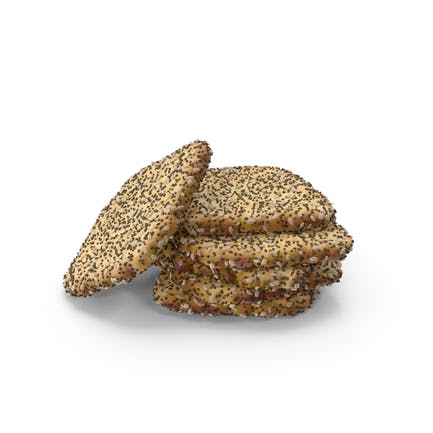 Small Pile of Mini Rhombus Crackers with Seeds